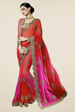 Triveni Red & Pink Embroidered Faux Georgette Saree