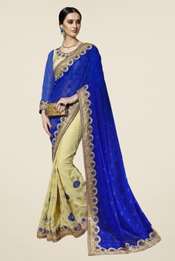 Triveni Cream & Blue Embroidered Chiffon Saree