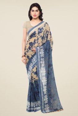Triveni Beige & Blue Floral Print Faux Georgette Saree