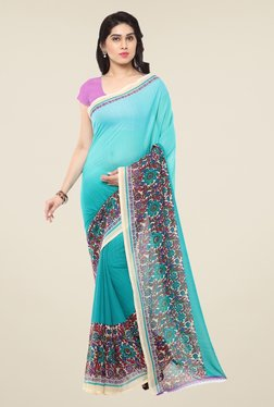 Triveni Blue Floral Print Art Silk Saree