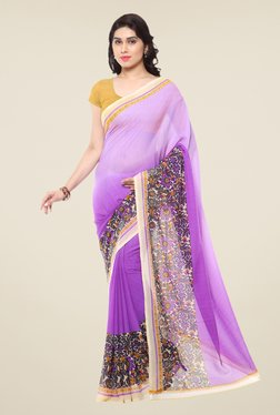 Triveni Purple Floral Print Art Silk Saree