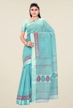 Triveni Blue Printed Art Silk Saree