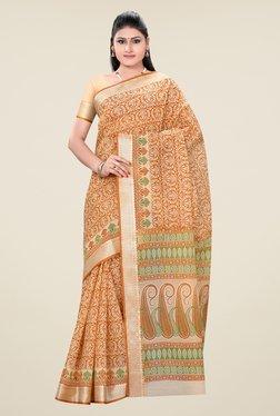 Triveni Orange Printed Art Silk Saree - Mp000000000579795