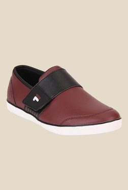 Fila Rock In Maroon & Black Casual Slip-Ons