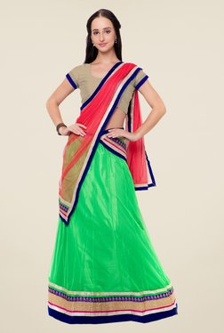 Triveni Green & Beige Embroidered Short Sleeve Lehenga Set