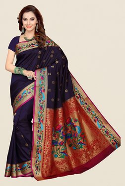 Ishin Navy Printed Poly Silk Saree