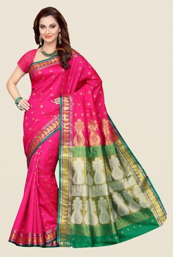 Ishin Pink & Green Printed Poly Cotton Saree