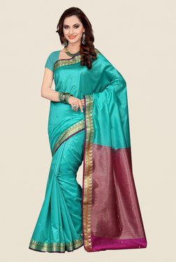 Ishin Turquoise & Purple Poly Silk Saree