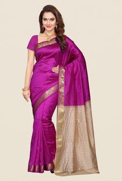 Ishin Purple & Beige Poly Silk Saree