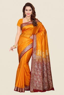 Ishin Yellow & Red Paisley Print Poly Silk Saree
