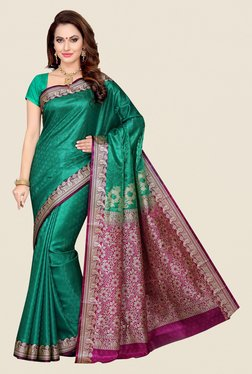 Ishin Teal & Purple Paisley Print Poly Silk Saree