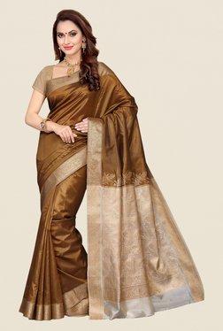 Ishin Brown & Cream Poly Silk Saree