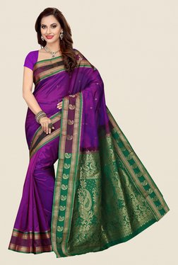 Ishin Purple & Green Paisley Print Poly Silk Saree