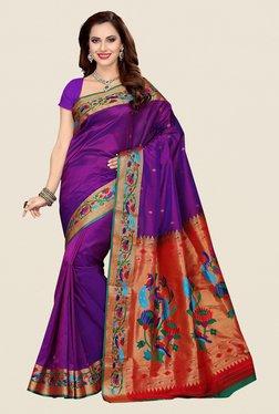 Ishin Purple & Orange Poly Silk Saree