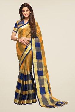 Ishin Yellow & Blue Striped Print Poly Cotton Saree