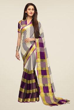 Ishin Off White & Purple Striped Print Poly Cotton Saree