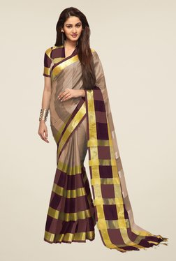 Ishin Beige & Brown Striped Print Poly Cotton Striped Saree