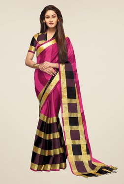 Ishin Pink & Purple Striped Print Poly Cotton Saree