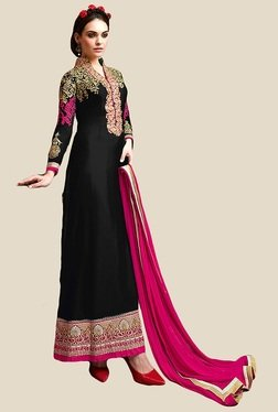 Anbazaar Black & Pink Embroidered Unstitched Salwar Suit