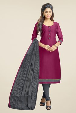 Fabfella Magenta & Grey Solid Dress Material