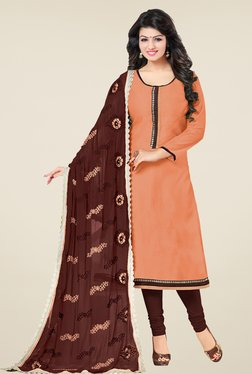 Fabfella Peach & Brown Solid Dress Material