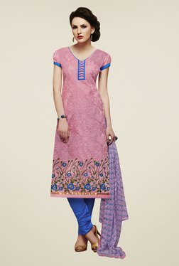 Fabfella Pink & Blue Embroidered Dress Material - Mp000000000583244