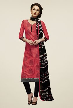 Fabfella Pink & Black Embroidered Dress Material