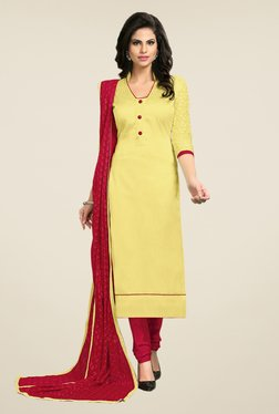 Fabfella Yellow & Maroon Embroidered Dress Material