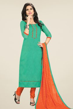 Fabfella Teal & Orange Embroidered Dress Material
