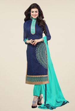 Fabfella Navy & Turquoise Embroidered Dress Material