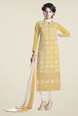 Fabfella Yellow & Off White Embroidered Dress Material