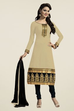 Fabfella Beige & Black Embroidered Dress Material