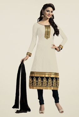 Fabfella Cream & Black Embroidered Dress Material