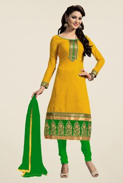 Fabfella Yellow & Green Embroidered Dress Material