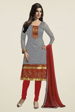 Fabfella Grey & Red Embroidered Dress Material