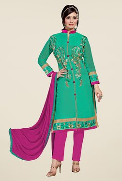 Fabfella Green & Magenta Embroidered Dress Material
