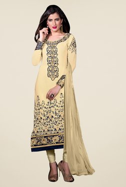 Fabfella Beige Embroidered Dress Material