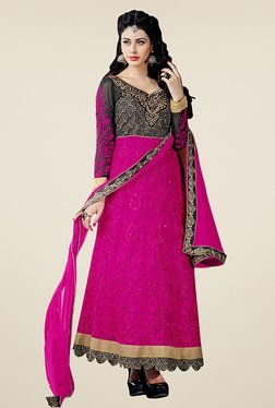 Fabfella Magenta & Black Embroidered Dress Material