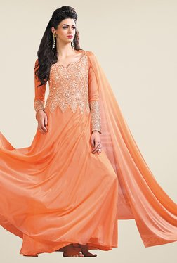 Fabfella Peach Embroidered Dress Material