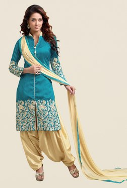Fabfella Teal & Beige Embroidered Dress Material