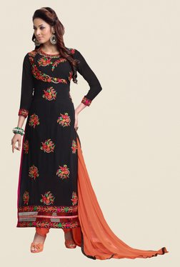 Fabfella Black & Peach Embroidered Dress Material