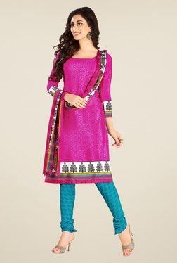Fabfella Pink & Blue Printed Dress Material