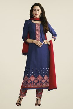Fabfella Navy & Red Embroidered Dress Material