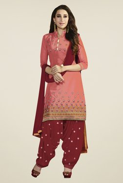 Fabfella Peach & Maroon Embroidered Dress Material