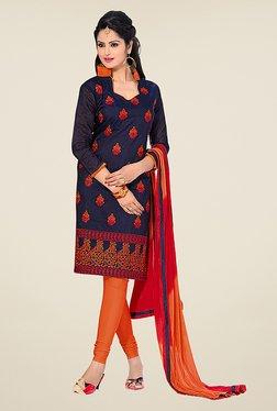 Fabfella Navy & Orange Embroidered Dress Material