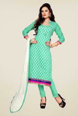 Fabfella Green Printed Dress Material