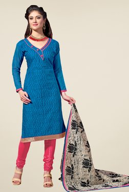 Fabfella Blue & Pink Embroidered Dress Material