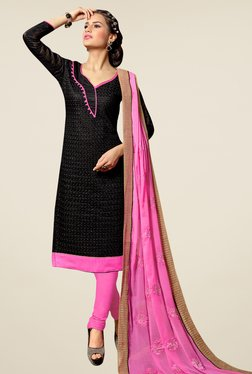 Fabfella Black & Pink Embroidered Dress Material