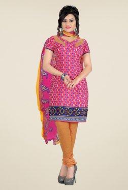 Fabfella Pink & Yellow Printed Dress Material