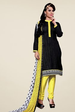 Fabfella Black & Yellow Solid Dress Material